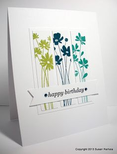 Simple cards - Simplicity: Riffing on Card Creations: Inspired by Kelly Rasmussen Making Greeting Cards, Greeting Cards Handmade, Handmade Birthday Cards, Happy Birthday Cards, Karten Diy, Card Sketches, Cool Cards, Easy Cards, Paper Cards