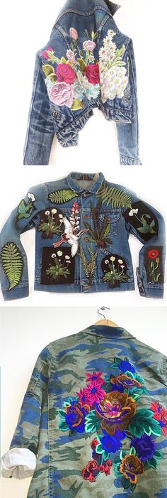 Ellie Mac adorns jackets and sweatshirts with beautiful florals, leaves, and graceful winged creatures. They turn everyday clothes into works of art.