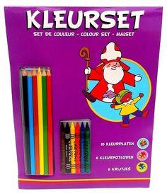 Sinterklaas kleurplaten set | incl. kleurpoltoden & krijtjes