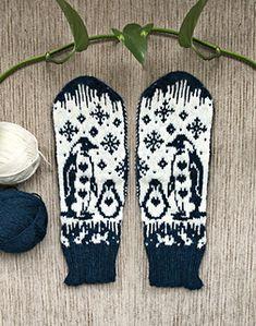 Ravelry: Penguin fun pattern by Lotta Lundin Fair Isle Knitting, Knitting Socks, Knit Socks, Crochet Gloves, Knit Crochet, Mitten Gloves, Mittens, Cool Patterns, Knitting Patterns