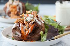 Primal Buffalo Chicken Stuffed Sweet Potatoes   Against All Grain - Delectable paleo recipes to eat & feel great