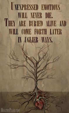 Mental health stigma quote - Unexpressed emotions will never die. They are buried alive and will come forth later in uglier ways.