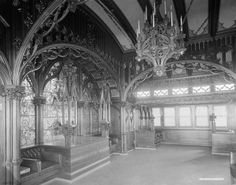 Circa 1912. Steamer, City of Detroit III, the Gothic Room which was the ship's smoking lounge. Part of it was saved and installed at the Dossin Great Lakes Museum on Belle Isle.