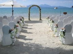 #White #Beach Wedding... Wedding ideas for brides, grooms, parents & planners ... https://itunes.apple.com/us/app/the-gold-wedding-planner/id498112599?ls=1=8 … plus how to organise an entire wedding, without overspending ♥ The Gold Wedding Planner iPhone App ♥