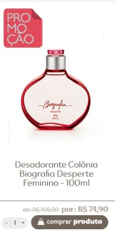 Natura Desodorante Colônia Biografia Desperte Feminino - 100ml Compre clicando na foto! Aqui tem promoção de  R$ 109,90  por R$ 74,90 ou 2 x de R$ 37,45 sem juros no cartão de crédito