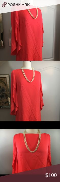 """NWT Milly Dress Sz 10 Butterfly Sleeve Bright Pink Length 31"""" Milly Dresses Midi"""