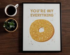 the perfect way to express your love for that special someone in your life and the ideal new york breakfast.  makes for a great housewarming gift for the hostess kitchen, an anniversary gift for a loved one, or a way to show your love on valentines day.  prints are designed and illustrated in brooklyn, new york and printed on a fine heavy weight paper  designed to fit standard frame sizes (frame not included in the price)  -------------------------------------------  + measures 11x14 inches…