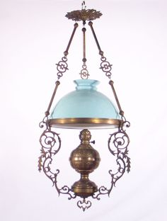 French Antique Brass & Bronze Chandelier w/ Green Student Shade #France
