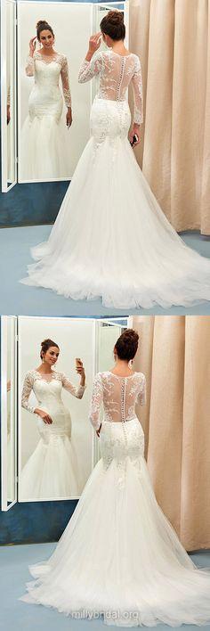 Mermaid Wedding Dresses Lace, Long Sleeve Wedding Dresses 2018, White Wedding Dresses Simple
