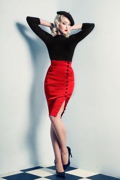 skirt — In love with this whole French inspired outfit! pencil skirt — In love with this whole French inspired outfit! - pencil skirt — In love with this whole French inspired outfit! Look Fashion, Retro Fashion, Vintage Fashion, Skirt Fashion, Fringe Fashion, Paris Fashion, Rockabilly Moda, Vestidos Retro, Moda Retro