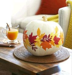 Painted and decoupaged pumpkin