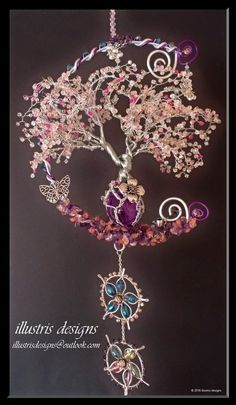 Cherry Blossom family wire tree by illustrisdesigns on DeviantArt Wire Wrapped Jewelry, Wire Jewelry, Beaded Jewelry, Handmade Jewelry, Wire Earrings, Jewellery, Wire Crafts, Jewelry Crafts, Bijoux Fil Aluminium