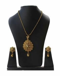 Copper Jalebi Feather Designer Chain Pendant Set With Earrings Necklace Set, Gold Necklace, Pendant Set, Chain Pendants, Jewelry Sets, Feather, Earrings, Copper, Stuff To Buy