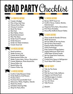 Plan the Perfect Party with a Free Printable Graduation Party Checklist - Oh My . Plan the Perfect Party with a Free Printable Graduation Party Checklist – Oh My Creative Free Pr Outdoor Graduation Parties, Graduation Party Planning, Graduation Party Themes, College Graduation Parties, Graduation Celebration, Grad Parties, Graduation Gifts, Mouse Parties, Graduation Party Invitations