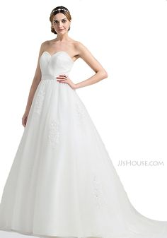 Ball-Gown Sweetheart Sweep Train Tulle Wedding Dress With Ruffle Appliques Lace #jjshouse