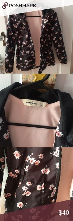 floral rain jacket super cute flower raincoat • perfect condition looks new • dark grey w pink flowers • hood on back • pockets in front • kids L but fits women XS • size 14 • soft light pink inside abercrombie kids Jackets & Coats Raincoats