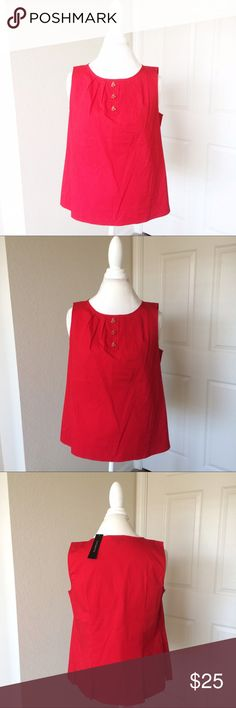 Talbots Red Sleeveless Blouse Talbots Red Sleeveless Blouse. Red and gold lady bugs. NWT. Size 12 petite. Pleated around hips and chest. Talbots Tops Blouses