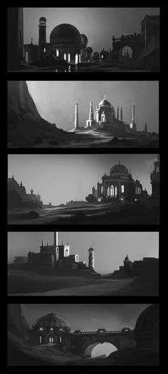 Thumbnail Sketches II by andreasrocha on DeviantArt Landscape Concept, Fantasy Landscape, Environment Concept Art, Environment Design, Storyboard, Composition Painting, Bg Design, Thumbnail Sketches, Concept Art Tutorial
