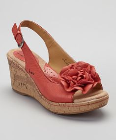 Another great find on #zulily! Coral Blossom Leather Slingback Wedge Sandal #zulilyfinds
