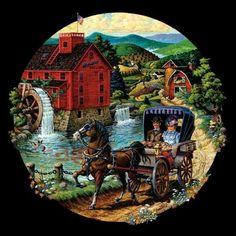 A ROAD TO A FRIEND, 500 piece horse & buggy round Sunsout Jigsaw Puzzle #Sunsout