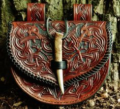 """""""Leather Viking Style Belt Pouch""""By:AlexOstacchini    Plunder more at: http://goldisblood.net/"""