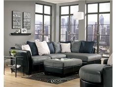 Shop for Signature Design Signature Two Piece Sectional, and other Home Office Sectionals at Walker Furniture in Las Vegas, Nevada. The cool fresh fabric and sophisticated faux leather upholstery combine to create the refreshingly unique contemporary design of the Masoli - Cobblestone Sectional Living Room Set by Signature Design by Ashley Furniture.