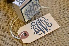 Custom vine monogram wooden hand stamp