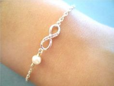 Dainty cubic infinity pendant and petit white freshwater pearl White silver dipped over brass chain amp clasp Cute minimal bracelet Color gold silver Infinity pendant size mm Total length measures Pearl Jewelry, Boho Jewelry, Silver Jewelry, Jewelry Accessories, Fashion Jewelry, Unique Jewelry, Pearl Bracelet, Jewlery, Jewelry Ideas