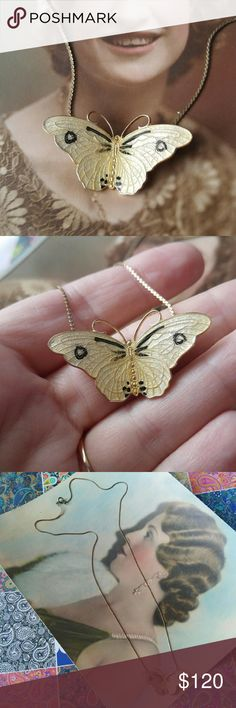 Vintage enamel butterfly necklace yellow Vintage guilloche enamel butterfly necklace- beautiful pale yellow with black detail- made of gold plated vermeil 925 sterling silver- signed OX STERLING on the back- made by Tina Oxnard of Denmark, Scandinavian enamel artist- comes with long gold tone chain- in nice condition with light surface wear - from a smoke free home- offers welcome :)  FAWNH88988OX888 Vintage Jewelry Necklaces
