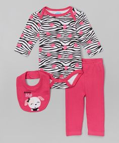 Loving this bon bébé Black & Hot Pink Doggie Three-Piece Bodysuit Set on #zulily! #zulilyfinds