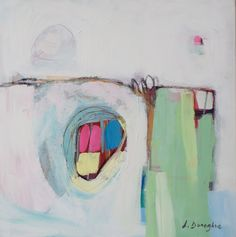 Abstract painting, white painting, mint green, pink, acrylic painting, original…