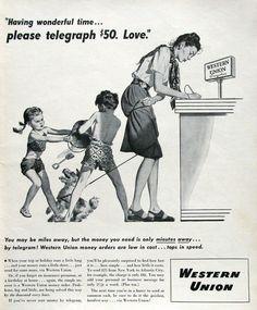 Funny Vintage Ads, Vintage Humor, Retro Advertising, Vintage Advertisements, Advertising History, Funny Art, Funny Memes, Insurance Ads, Western Union