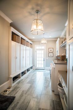 This laundry room and mudroom have builtin lockers with basket storage upper and lower area for shoe stprage. Interior Design Ideas for your Home House Design, House, Home, Home Remodeling, Mudroom Design, Luxury Homes, Dream Laundry Room, Luxury Interior Design, Mudroom Laundry Room