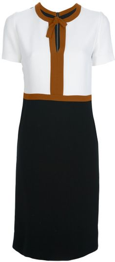 Burberry Prorsum Colour Block Dress in White (black)