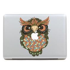Removable waterproof fashion DIY big colorful owl tablet sticker and laptop computer sticker for laptop,260x270mm