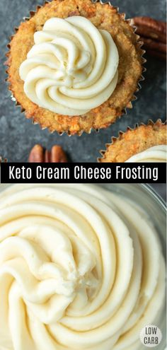 This low carb Keto Cream Cheese Frosting is a sugarfree cream cheese frosting that is LCHF and perfect topping for low carb desserts This low carb cream cheese frosting i. Low Carb Dinner Recipes, Low Carb Desserts, Keto Recipes, Dessert Recipes, Supper Recipes, Keto Cookies, Cookies Et Biscuits, Chip Cookies, Low Carb Frosting Recipe