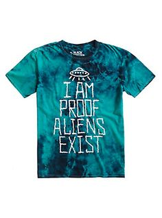 Aliens exist and you're living proof! Reveal your secret with this tee featuring a green tie dye wash. dry lowImportedListed in men's sizes Proof Aliens Exist, How To Make Tshirts, Tie Dye T Shirts, Shirt Outfit, Aesthetic Clothes, Cool Shirts, Funny Tshirts, Cool Outfits, Nerd Outfits