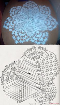crochet Deniz by kari Free Crochet Doily Patterns, Crochet Doily Diagram, Crochet Chart, Crochet Squares, Thread Crochet, Crochet Motif, Crochet Designs, Crochet Lace, Crochet Stitches