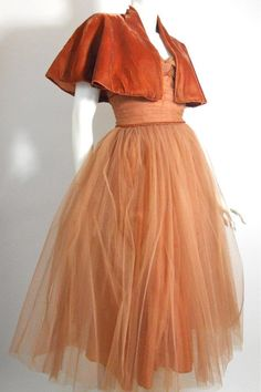 1950s cinnamon tulle dress with velvet trim and cape