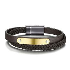 Bullet New Adjustable Leather Punk Buttoned Bracelet UK Made Gothic Wristband