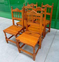 6 sedie rustiche in larice massello provenienza alpina primo '900
