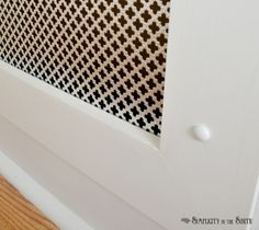 Radiator screen vent cover - hiding the subwoofer with a cold air return metal vent? Cloverleaf pattern from Lowes Metal Radiator Covers, Radiator Screen, Wall Vent Covers, Vent Covers Decorative, Air Return Vent Cover, Cold Air Return, Hallway Designs, Board And Batten, Home Projects