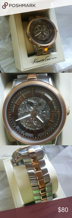Men's Kenneth Cole Skeleton Watch Men's silver and gold skeleton watch- no batteries required. Comes in original box and extra link. Barely, if any scratched on wristband. Rarely worn by the boyfriend. Serial # kc9032. Beautiful every day watch Kenneth Cole Accessories Watches