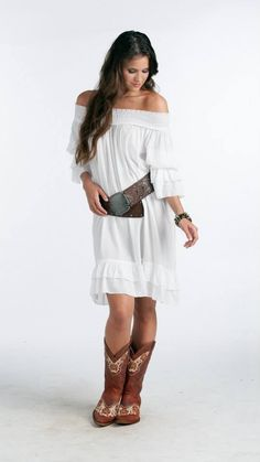 R U Apparel White Off the Shoulder Dress Women NEW Size L  #RUApparelRUCowgirl #Pullover #Casual