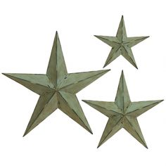 Etoile Set of 3 ~ A trio of lightly distressed stars make undeniably chic 337. ~ Color: ANTIQUE WHITE ~ METAL ~ cynthia.athome.com
