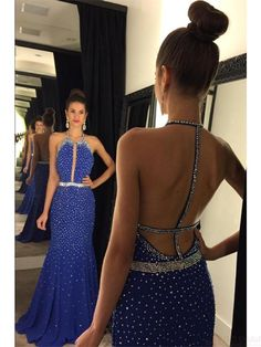 Halter Backless Sequins Long Satin  Prom Dresses Evening  Dresses  #SIMIBridal #promdresses