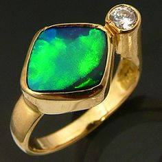 Estate Neon Flagstone OPAL solid 18K GOLD DRESS RING I