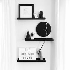 Instagram @grayglow | Heidi Swapp light box | Shelfie | Shelf decor | Sheld styling | Living room decor | Harry Potter | The boy who lived