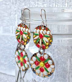 Colorful, upcycled embossed mosaic earrings made from a vintage tin