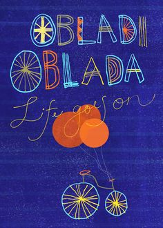 Beatles art print illustration - Obladi Oblada balloons & bike via confettielove